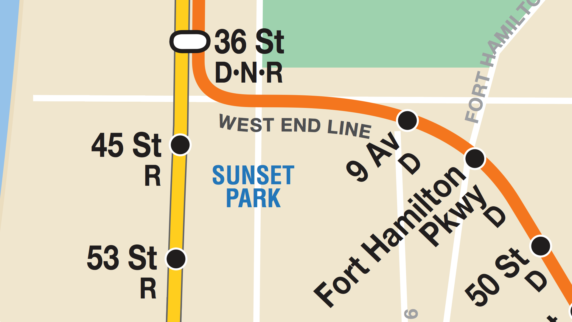 Sunset Park, as imagined by the NYC Subway Map. Missing: Sunset Park itself